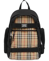 Burberry Logo-appliquéd Leather-trimmed Checked Canvas Backpack - Natural