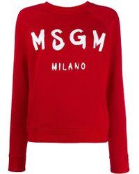 MSGM Logo Printed Sweatshirt - Red
