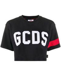 Gcds Cropped-T-Shirt mit Logo - Schwarz