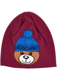 Boutique Moschino Burgundy Wool Hat - Red