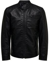 Only & Sons Black Polyurethane Jacket