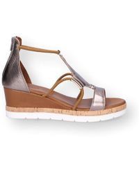 Inuovo - Bronze Leather Wedges - Lyst