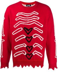 Haculla Graphic Knit Sweater - Red