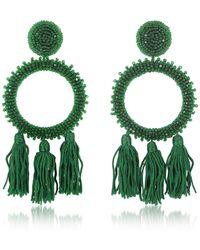Oscar de la Renta Bead-embellished Clip-on Earrings - Green