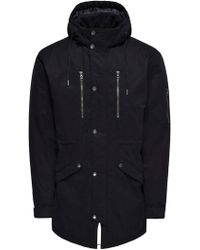 Only & Sons Black Cotton Coat