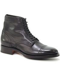 Santoni - Light Blue Leather Ankle Boots - Lyst