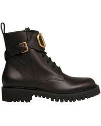 Valentino Valentino Garavani 'vlogo' Buckle Leather Combat Boots - Black