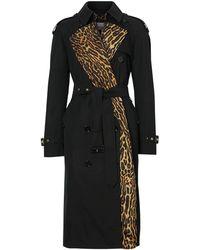 Burberry Trenchcoat mit Leoparden-Print - Schwarz