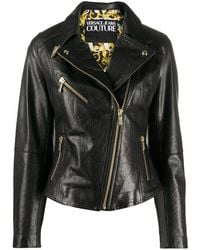 Versace Jeans Couture Leather Outerwear Jacket - Black