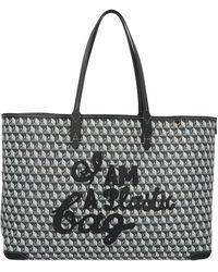 Anya Hindmarch + Net Sustain I Am A Plastic Bag Große Tote Aus Bedrucktem Beschichtetem Canvas Mit Lederbesätzen - Blau