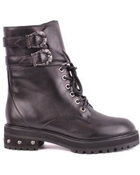 Pinko Black Leather Ankle Boots