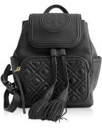 Tory Burch Black Faux Leather Backpack