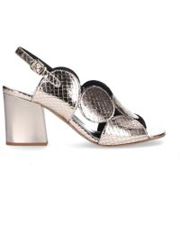 Hudson Jeans Silver Leather Sandals - Metallic