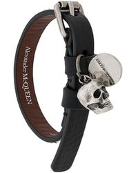 Alexander McQueen Black Leather Bracelet