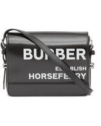 Burberry Small Grace Horseferry-print Crossbody Bag - Black