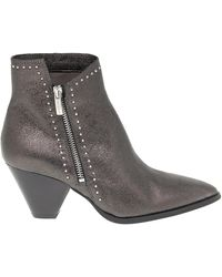 Janet & Janet Leather Ankle Boots - Grey