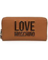 Love Moschino LEDER BRIEFTASCHEN - Braun