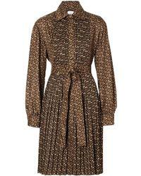 Burberry Pleated Monogram Shirt Dress - Brown