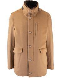 Herno Beige Cashmere Coat - Natural
