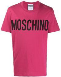 Moschino T-Shirt mit Logo-Print - Pink