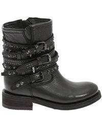 Ash Temptnappa Leather Ankle Boots - Black