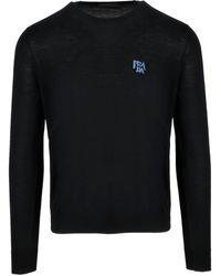 Prada Wool Sweater With Intarsia - Black
