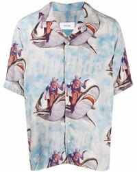Rhude Bowlinghemd Aus Viskose Mit Druck - Blau
