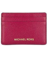 Michael Kors Fuchsia Leather Card Holder - Purple
