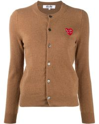 COMME DES GARÇONS PLAY Embroidered-logo Knit Cardigan - Brown