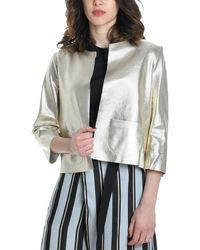 Betta Corradi Silver Leather Jacket - Metallic
