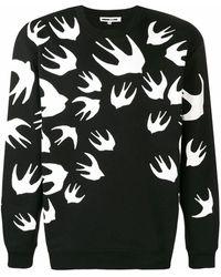McQ Pullover mit Vogel-Print - Schwarz