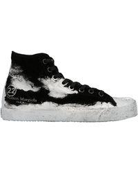 Maison Margiela Leather Hi Top Sneakers - Black