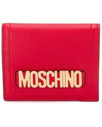 Moschino Portemonnaie mit Logo-Schild - Rot