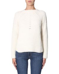 Aspesi WEISS WOLLE PULLOVER - Mehrfarbig