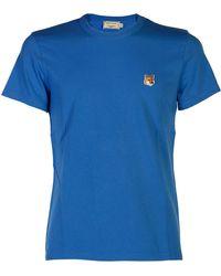 ac22f34bf7 Maison Kitsuné - Fox Patch T-shirt, Blue Tee - Lyst