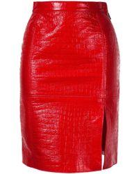 MSGM Red Cotton Skirt