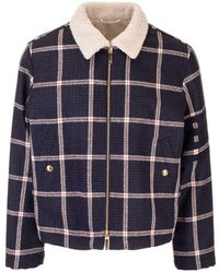 Thom Browne Leather Outerwear Jacket - Blue