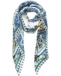 Etro Multicolour Silk Foulard - Blue
