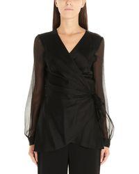 Diane von Furstenberg Black Silk Blouse