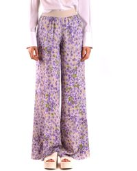 Twin Set Purple Viscose Trousers