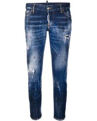 DSquared² Cropped-Jeans im Distressed-Look - Blau