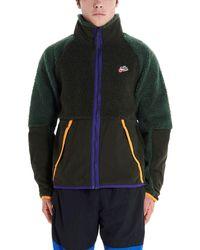 Nike Stand Up Collar Zipped Sherpa Jacket - Green