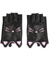Karl Lagerfeld Choupette Fingerless Gloves - Black