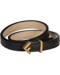 Fendi Black Leather Bracelet