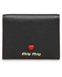 Miu Miu Portemonnaie aus Madras-Leder - Schwarz