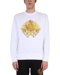 Versace Jeans Couture BAUMWOLLE SWEATSHIRT - Weiß