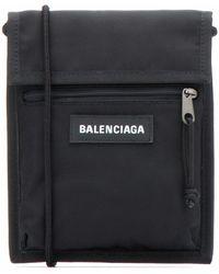 Balenciaga Logo-detailed Canvas Messenger Bag - Black