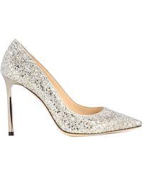 Jimmy Choo Silver Glitter Court Shoes - Metallic