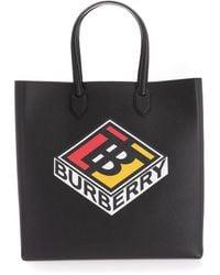 Burberry Große Henkeltasche aus genarbtem Leder mit Logo-Grafik - Schwarz