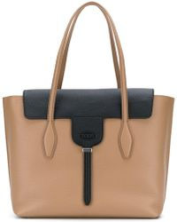 Tod's Beige Leather Tote - Natural